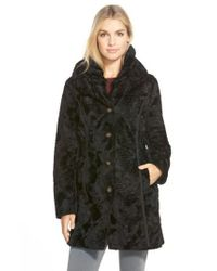 Laundry by Shelli Segal - Black Reversible Faux Persian Lamb Fur Coat - Lyst