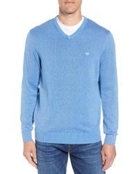 Vineyard Vines Blue Cotton & Cashmere V-neck Sweater for men