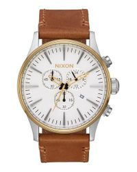 Nixon - Multicolor The Sentry Chronograph Leather Strap Watch for Men - Lyst