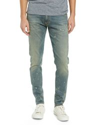Represent Green Essential Spattered Slim Fit Jeans for men
