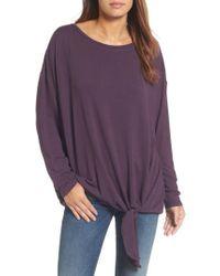 Caslon | Purple Caslon Tie Front Sweatshirt | Lyst