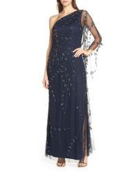 Adrianna Papell Blue Beaded One-shoulder Evening Dress
