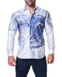Maceoo - Blue Fibonacci Scribble Trim Fit Print Sport Shirt for Men - Lyst