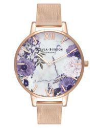 Olivia Burton - Pink Marble Floral Mesh Strap Watch - Lyst