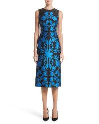 Oscar de la Renta | Blue Matelasse Floral Jacquard Dress | Lyst