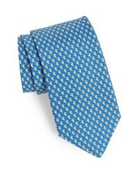 Ferragamo - Blue Eraldo Print Silk Tie for Men - Lyst