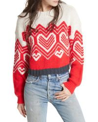 Free People | Red I Heart You Sweater | Lyst
