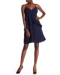 Julia Jordan Blue Spaghetti Strap Tiered A-line Dress