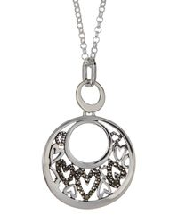 Argento Vivo | Metallic Sterling Silver Marcastie Detail Heart Cutout Circle Pendant Necklace | Lyst