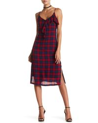 Lush | Red Kate Plaid Ruffle Midi Dress | Lyst