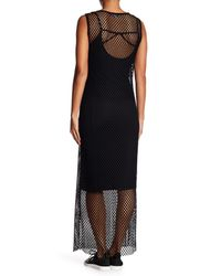 X By Gottex Black Two Piece Open Mesh Maxi Dress
