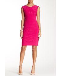 Adrianna Papell Multicolor Directional Bandage Sheath Dress