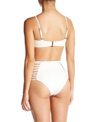 Elizabeth Jane - White Strappy High Waist Bikini Bottom - Lyst