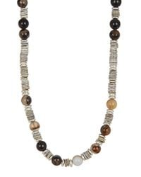 Link Up - Metallic Tan Shell Silver Discs Necklace - Lyst