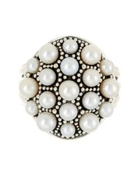 Lagos - Metallic Sterling Silver Luna 3-5mm Freshwater Pearl Dome Ring - Size 7 - Lyst