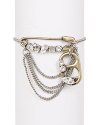 Marc Jacobs - Metallic Strass Safety Pin Chain Bracelet - Lyst