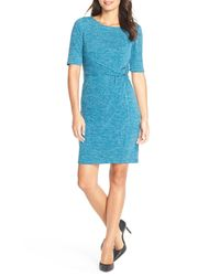 Ellen Tracy - Blue Heathered Knit Sheath Dress - Lyst