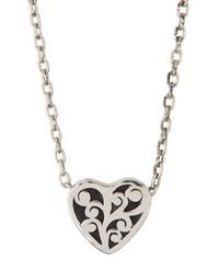 Lois Hill - Metallic Sterling Silver Cutout Heart Slide Pendant Necklace - Lyst