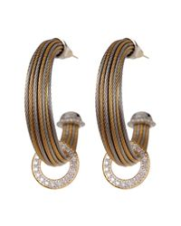 Alor | Gray 18k Gold & Diamond Stainless Steel Cable Hoop Earrings - 0.36 Ctw | Lyst