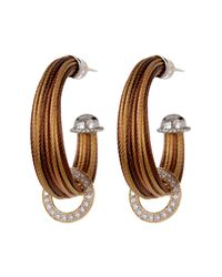 Alor | Yellow 18k Gold & Diamond Stainless Steel Cable Hoop Earrings - 0.36 Ctw | Lyst
