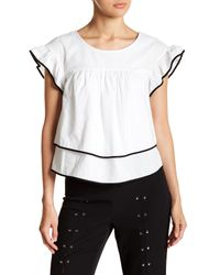 Romeo and Juliet Couture White Contrast Pipe Trim Top