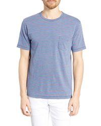 Faherty Brand Blue Stripe Pocket T-shirt for men
