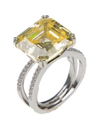 CZ by Kenneth Jay Lane - Metallic Prong Set Square Cut Yellow Cz & Pave Split Shank Deco Statement Ring - Lyst
