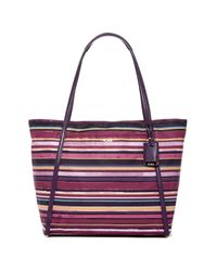 Tumi Purple Voyageur Leather Trimmed Q Tote