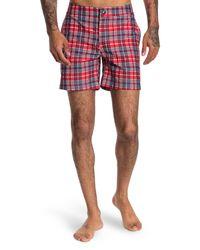 Bugatchi Red Print Swim Trunks for men