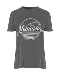 TOPSHOP | Gray 'nebraska' Graphic Tee | Lyst