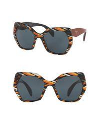 Prada - Blue Irregular Heritage Triangle 56mm Sunglasses - Lyst