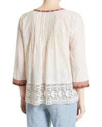 Joie Natural Gustavie Embroidered Cotton Blouse