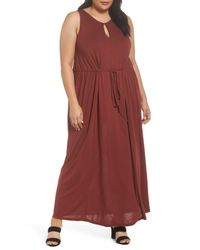 Sejour Red Tie Waist Maxi Dress (plus Size)