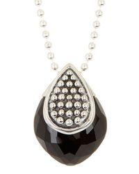 Lagos - Metallic Sterling Silver Maya Onyx Caviar Pendant Necklace - Lyst