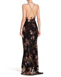 Haute Rogue - Black Slit Sequin Gown - Lyst