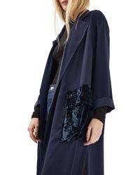 TOPSHOP Blue Velvet Pocket Duster Coat