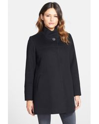 Fleurette - Black Wool Stand Collar Car Coat - Lyst