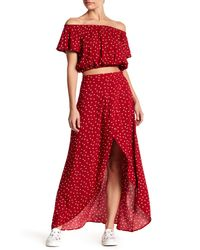 Love, Fire - Red Faux Wrap Maxi Skirt - Lyst