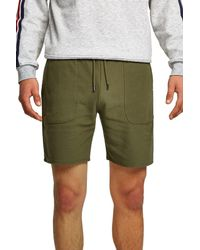 Topman Green Twill Slim Fit Jersey Shorts for men