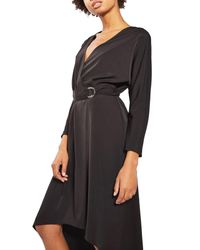 TOPSHOP Black O-ring Wrap Midi Dress