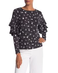 Cece by Cynthia Steffe Black Ruffle Sleeve Patterned Shirt