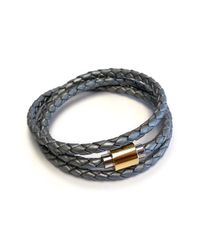 Liza Schwartz - Gray Original Triple Wrap Silver Leather Bracelet - Lyst