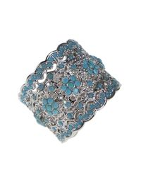 Kenneth Jay Lane - Blue Floral Filigree Pave Scalloped Ring - Lyst