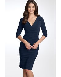 Adrianna Papell Blue Pleated Jersey Sheath Dress
