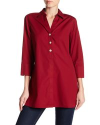 Foxcroft Red Pamela 3/4 Length Sleeve Shirt