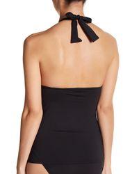 Tommy Bahama Black Pearl Pleated Halter Tankini Bikini Top