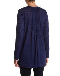 Casual Studio - Blue Burn Out Knit Henley - Lyst