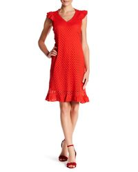 Sharagano - Red V-neck Cutout Day Or Night Dress - Lyst