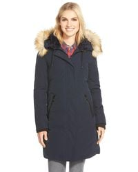 Vince Camuto Blue Down & Feather Fill Parka With Faux Fur Trim