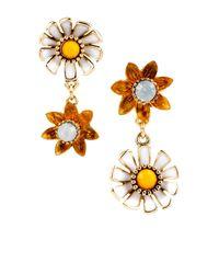 Betsey Johnson - Metallic Flower Child Daisy Flower Mismatched Drop Earrings - Lyst